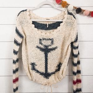 Free People || Nautical Anchor Stripe Knit Sweater